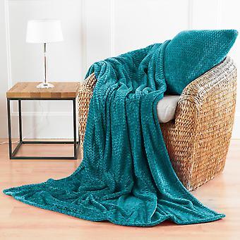 Country Club Chevron Microfibre Blanket, Turquoise