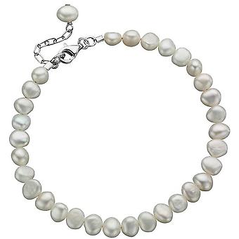 Inizii d'acqua dolce perla singola fila bracciale - bianco