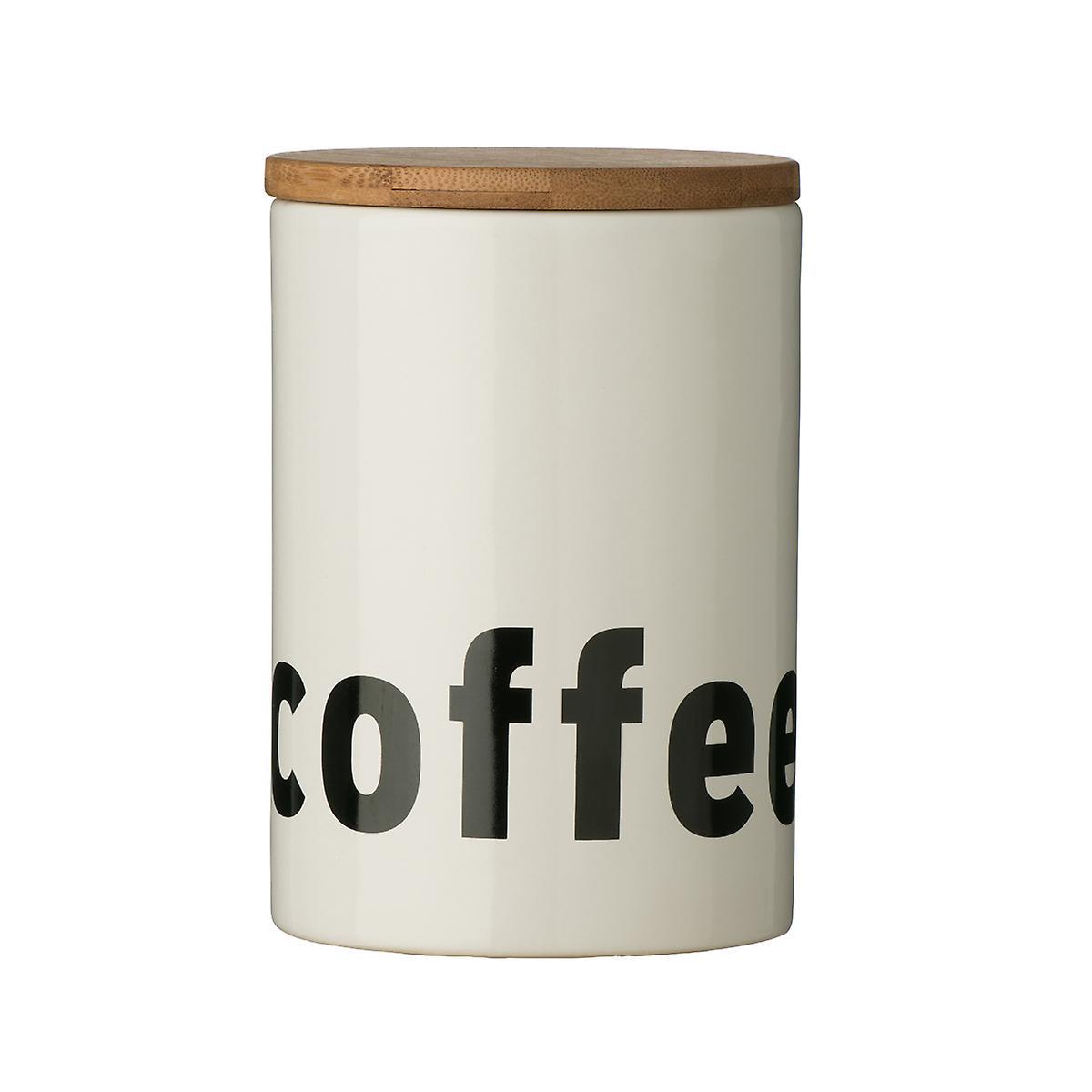 Premier Housewares Mono Coffee Canister, White Black Text