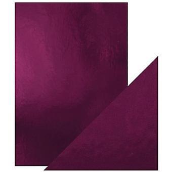 Craft perfekt av tonic Studios a4 Mirror-kort høyglanset Midnight Plum | Pakke med 5