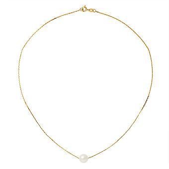 Naisten Choker kaula koru Forcat keltainen kulta 750/1000 ja valkoinen viljellyt helmi
