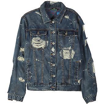 Lrg Destroyed Denim Jacket Denim Blue