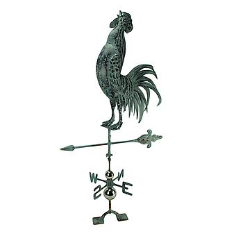 Verdigris Patina Metal Rooster Weather Vane with Roof Mount