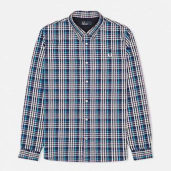 Camisa manga longa M7247 de Gingham bold (realce)-458 Fred Perry masculino