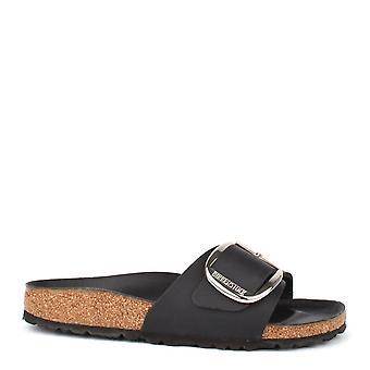 Sandalo piatto Birkenstock Madrid grande fibbia fibbia nera