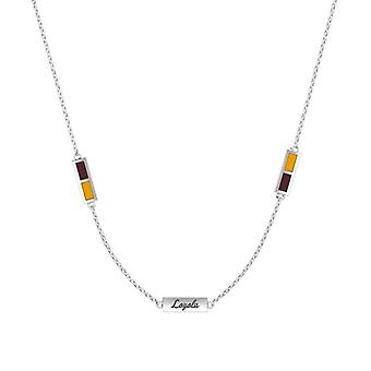 Loyola University Chicago Sterling Silver Engraved Triple Station Necklace In Maroon & Yellow