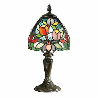 1 lichte mini tafel lamp donkerbrons, Tiffany glas