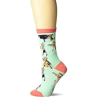 Women's Crew Socks - K Bell - Musical Dogs Teal (9-11)