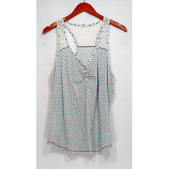 P. J. Salvage Top Sleeveless Printed w/ Lace Detail Blue