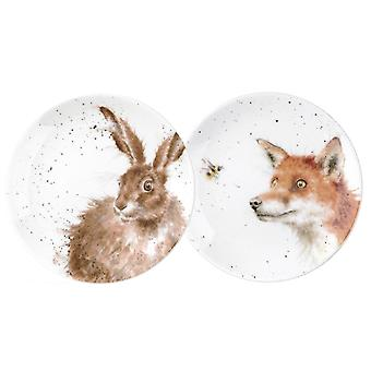 Wrendale Designs Set of 2 Coupe Plates, Fox and Hare