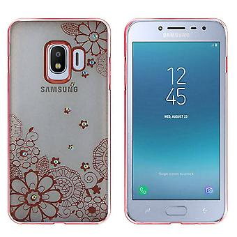 Samsung J2 Pro 2018 Case Flowers Rose Gold - Backcover Clear Bumper Look