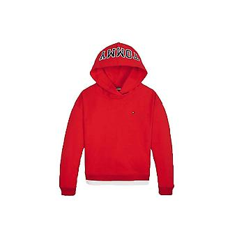 Tommy Hilfiger Girls Red Colour-blocked Logo Hoody