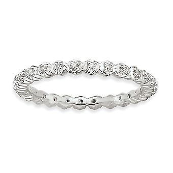 925 Sterling Silver Polished Prong ensemble à motifs Rhodium plaqué Expressions Empilables Diamond Ring Bijoux Cadeaux pour Wom