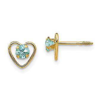 14 k Gelb Gold polierte Schraube hinten Post Ohrringe 3mm Aquamarin Herz für Jungen oder Mädchen Ohrringe - Maßnahmen 6x6mm