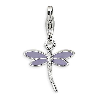 925 Sterling Silver Rhodium plated Fancy Lobster Closure Lilac Enameled Dragonfly With Lobster Clasp Charm Pendant Neckl