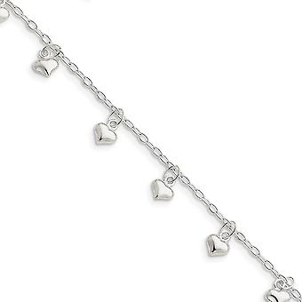 925 Sterling Silver Fancy Lobster Closure Polished Puffed Love Heart Anklet Jewelry Gifts for Women