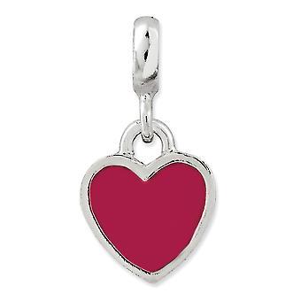 925 Sterling Argento polacco smalto rosa smalto amore cuore enhancer fascino ciondolo collana gioielli per le donne