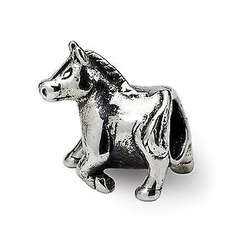 925 Sterling Silver Polished finish Reflections Horse Bead Charm Pendant Necklace Jewelry Gifts for Women