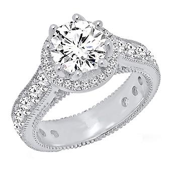Dazzlingrock Collection Sterling Silver Round White Cubic Zirconia CZ Ladies Bridal Engagement Ring