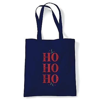 Ho Ho Ho Tote | Christmas Xmas HoHoHo Season Greetings Merry | Reusable Shopping Cotton Canvas Long Handled Natural Shopper Eco-Friendly Fashion