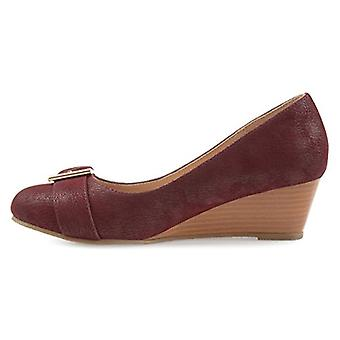 Brinley Co Womens Gael Faux Suede Buckle Detail Comfort-Sole Wedges