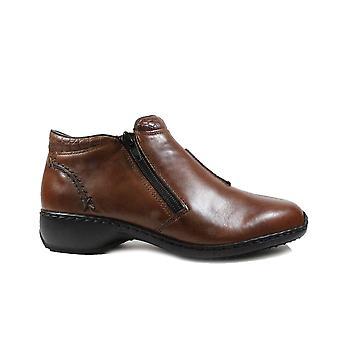 Rieker Doro L3882-24 Tan cuero mujeres chaqueta con cremallera botines