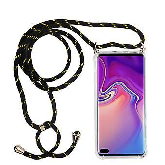 Chaîne de téléphone pour Samsung Galaxy S10 Plus - Smartphone Necklace Case with Band - Cord with Case to Hang In Black