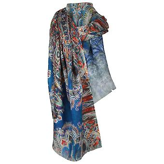 Ombre Abstract Print Wool & Silk Blend Scarf