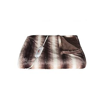 """50"""" x 60"""" Brown & White Modern Contemporary Heated  Throw Blankets"""