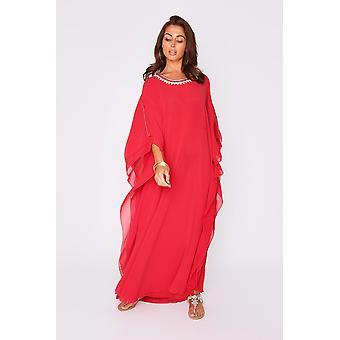 Kaftan helene high neck batwing long sleeve full-length maxi dress in raspberry