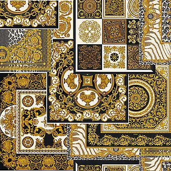 Versace Decoupage Baroque Wallpaper - Black and Gold - 37048-3 - 10m x 70cm