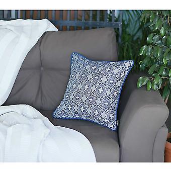 Blue Jacquard Medallion Decorative Throw Pillow Cover