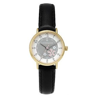 Children's Watch Lulu Castagnette 38901 - Round case in m tal dor White dial Black leather bracelet