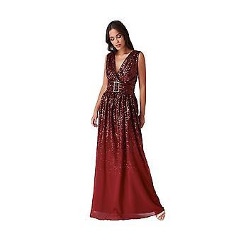 Goddiva Sequin Chiffon Wrap Maxi Dress