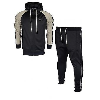 883 Police Duccio Polyester Zip Up Hooded Slim Fit Black Tracksuit