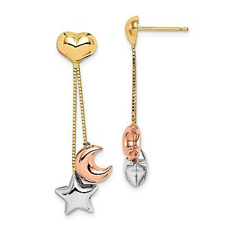 14k Madi K Tri color Love Heart Star and Celestial Moon Dangle Post Earrings Jewelry Gifts for Women