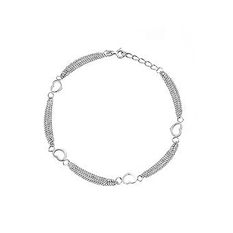925 Sterling Silver Rhodium Plated Open Heart 4 Station 3 Row Anklet 10 Inch Jewelry Gifts for Women
