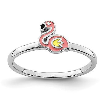 925 Sterling Silver Rhodium plated for boys or girls Enameled Flamingo Ring - Ring Size: 3 to 4