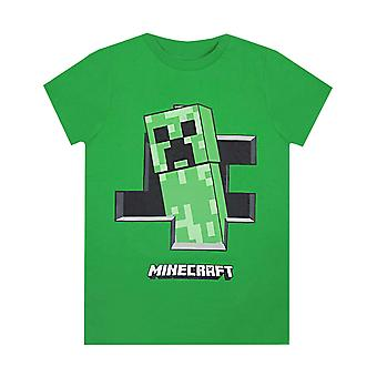 Minecraft Creeper Inne Gutter Grønn Kortermet Spillere T-skjorte