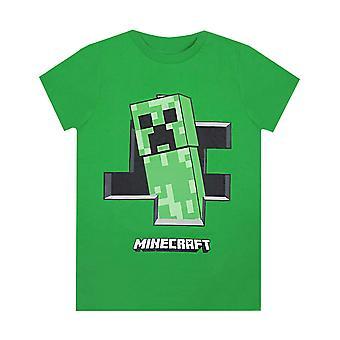 Minecraft Boys T-shirt Creeper Inside Green Short Sleeve Gamers Top for Kids