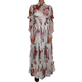 Dolce & Gabbana weiß Floral Seide voller Kleid Maxi Kleid