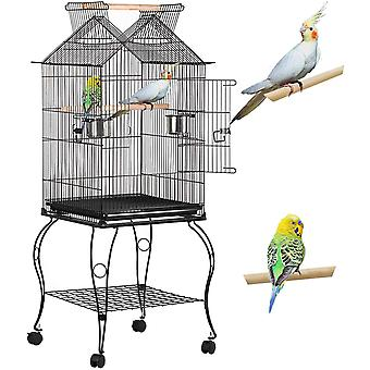 Large Metal Parrot Cage Open Top Aviary Bird Cage for Budgerigars Conures Cockatiels Lovebirds with Wheels Perch
