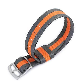 Strapcode n.a.t.o حزام ووتش 20mm miltat raf n7 حزام مراقبة الناتو، الرمادي والبرتقالي، وسلم sandblasted قفل قفل مشبك