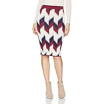 BCBGMAXAZRIA Women's Leger Colorblock Print Knit Pencil Skirt, Port Combo, M