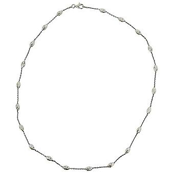 TOC Sterling Silver Oval Textured Bead Station Necklace 20