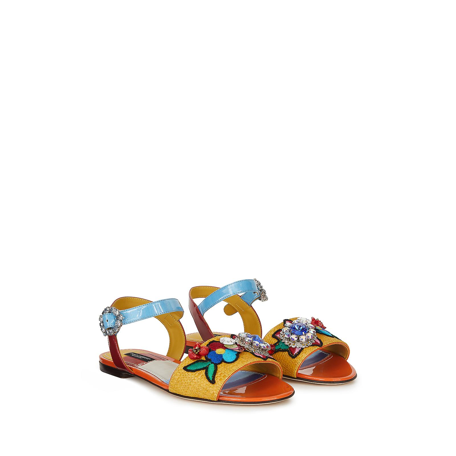 Dolce & Gabbana Sandals In Patent Leather With Floral Print Fs11h