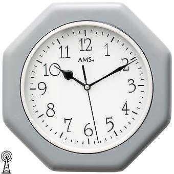 AMS 5511 wall kelloradio radio-ohjattavat wall clock analoginen puu kotelo harmaa kahdeksankulmainen