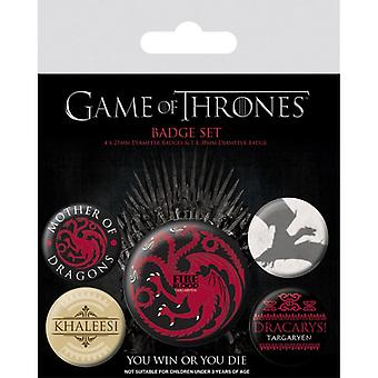 Game of Thrones Fire and Blood Pin Button Badges Set