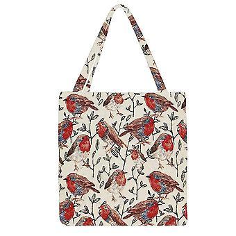 Robin gusset bag | bird pattern foldable shopping bag | guss-rob