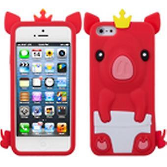 Asmyna Crown Piggie Pastell Hud Veske til Apple iPhone 5s/5 - Rød